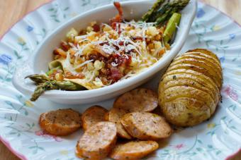 Roasted Asparagus with Fried Egg and Bacon Crumble